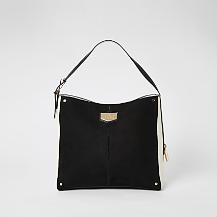 Black suedette padlock side slouch bag