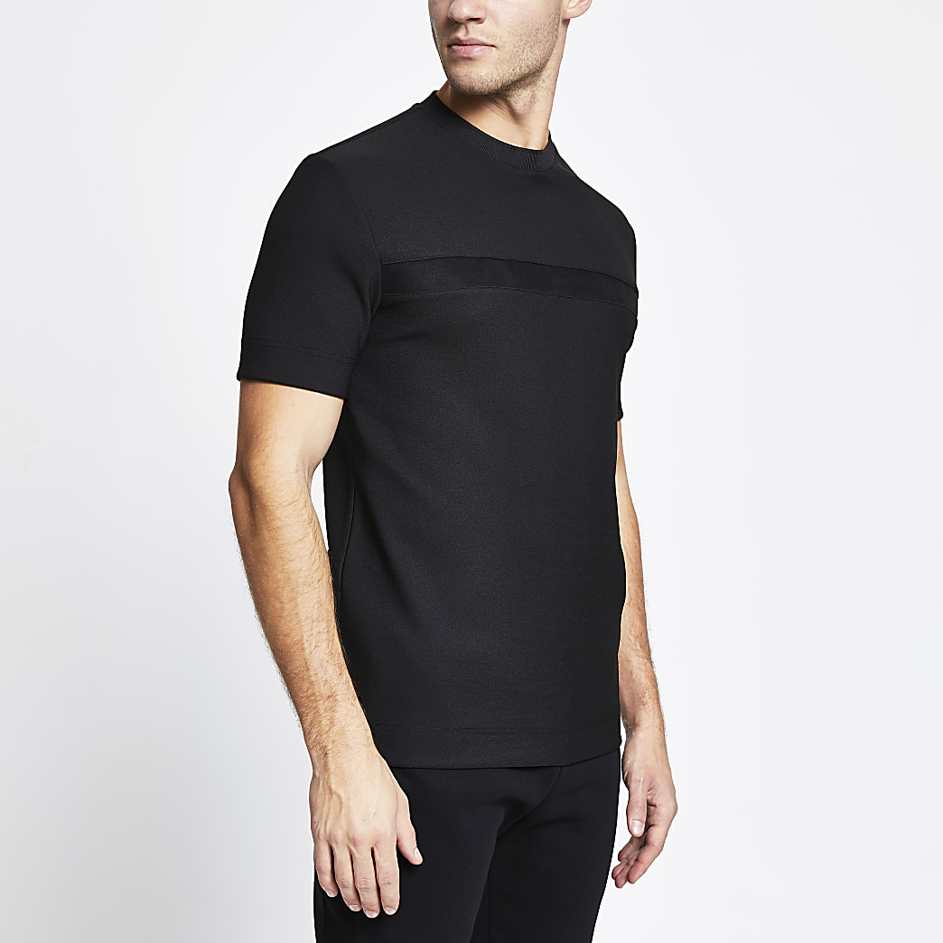 Black suedette panel slim fit t-shirt