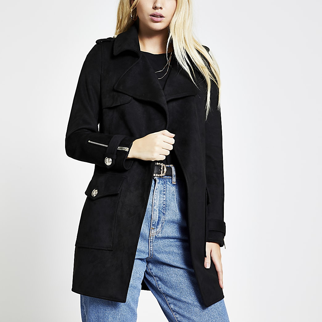 Black suedette pocket front jacket
