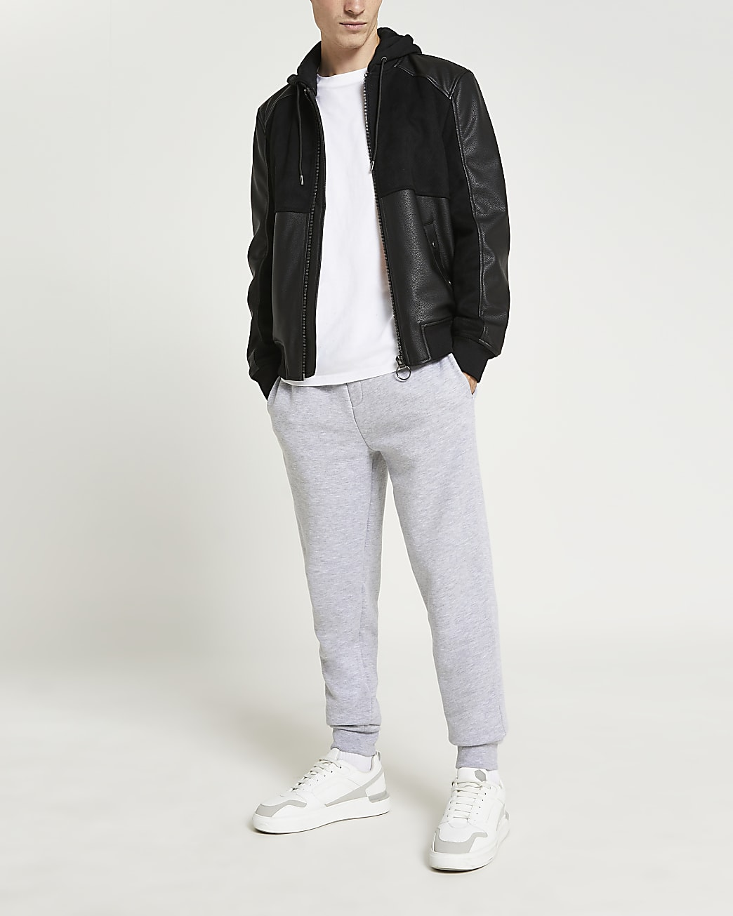 Black suedette PU fabric block jacket