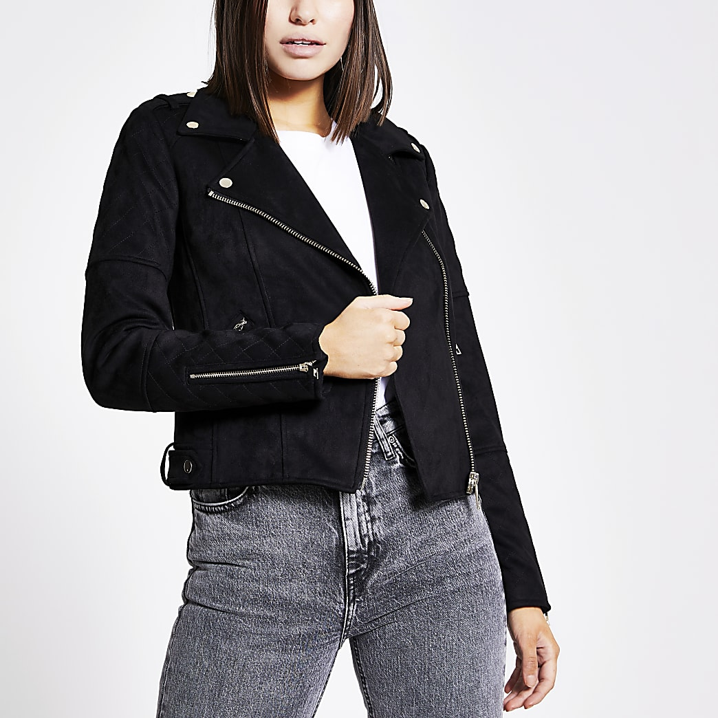 Black suedette quilted biker jacket