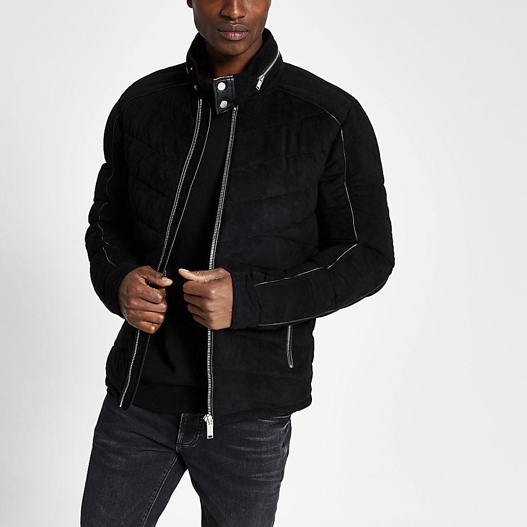 Black suedette quilted racer coat