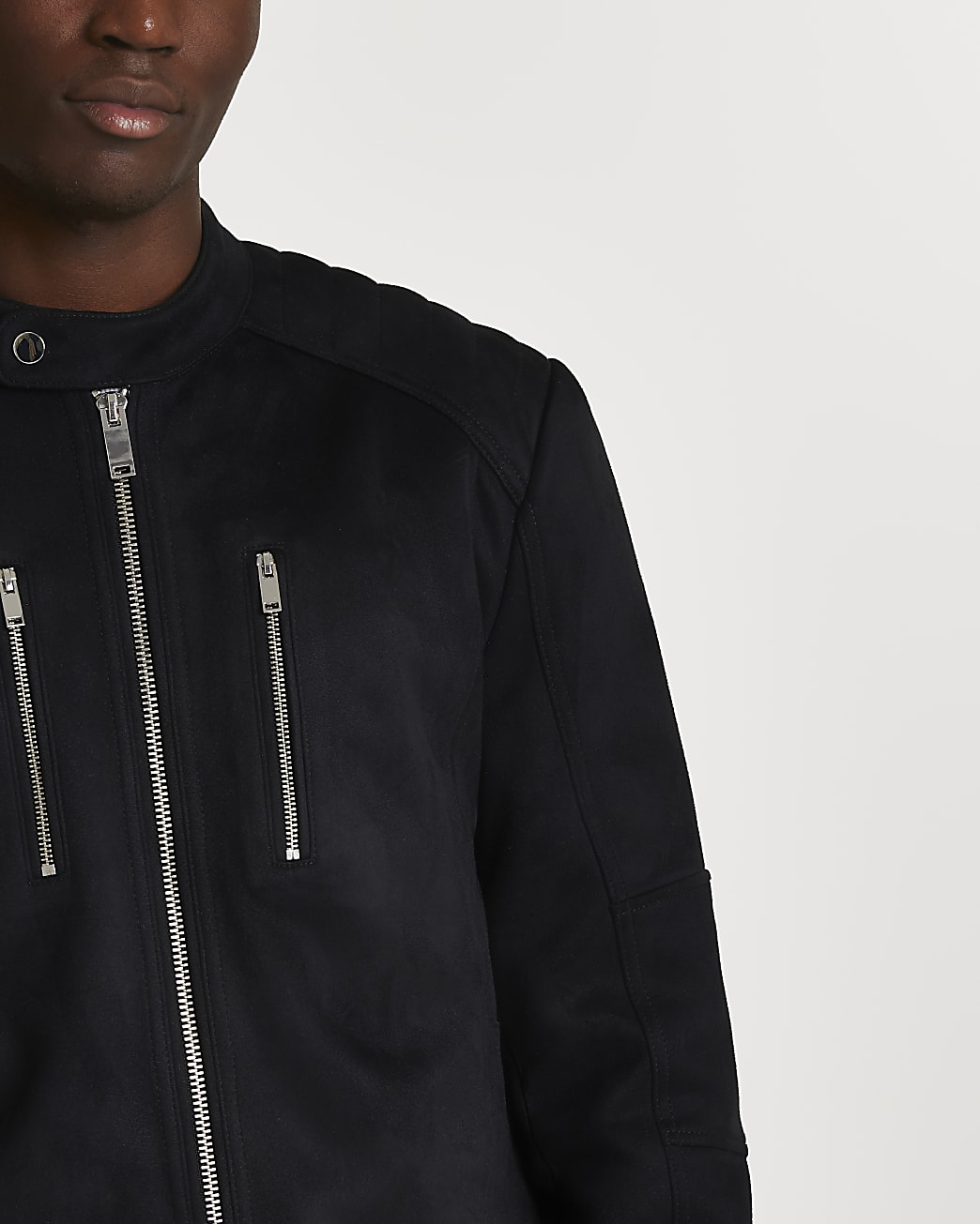Black suedette racer jacket