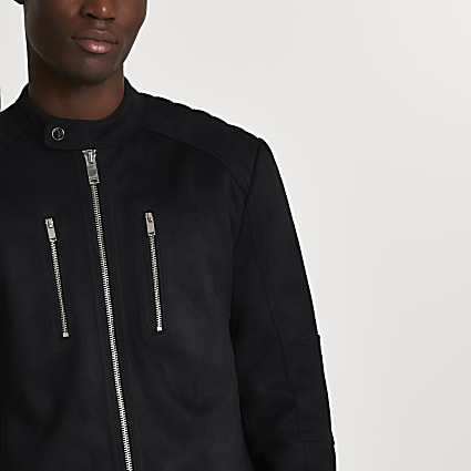 Black suedette racer jacket