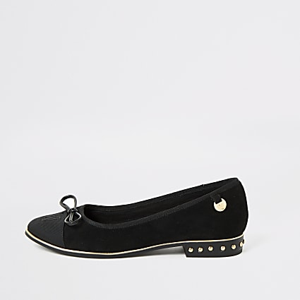 Black suedette RU studded loafers