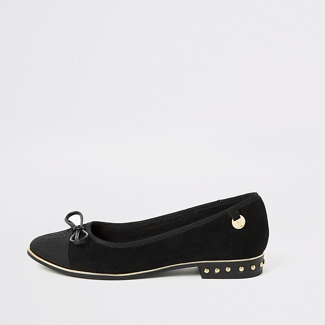 Black suedette RU studded loafers