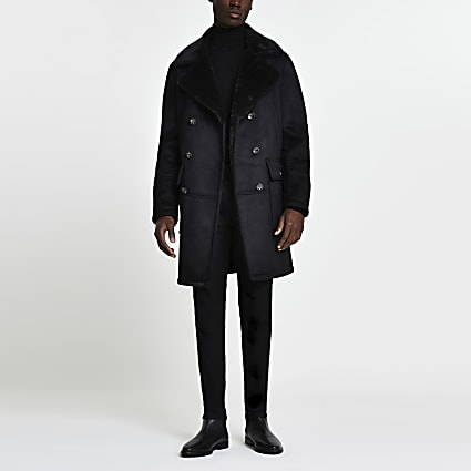 Black suedette shearling peacoat