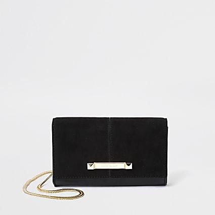 Black suedette underarm handbag