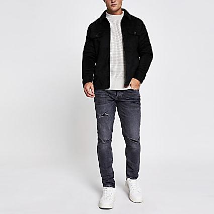 Black suedette zip front overshirt