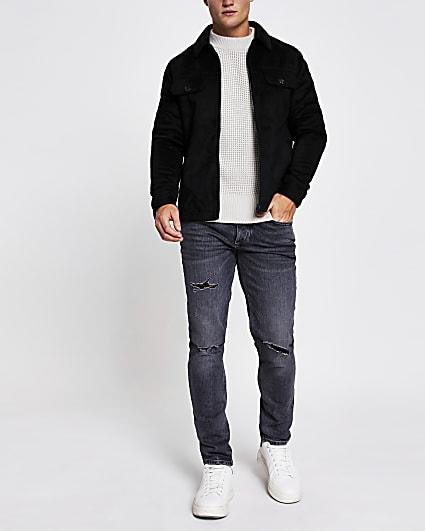 Black suedette zip front shacket