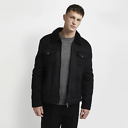 Black suedette zip western jacket
