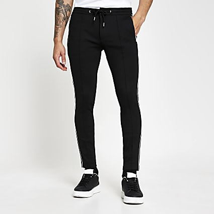 Black super skinny piping design joggers