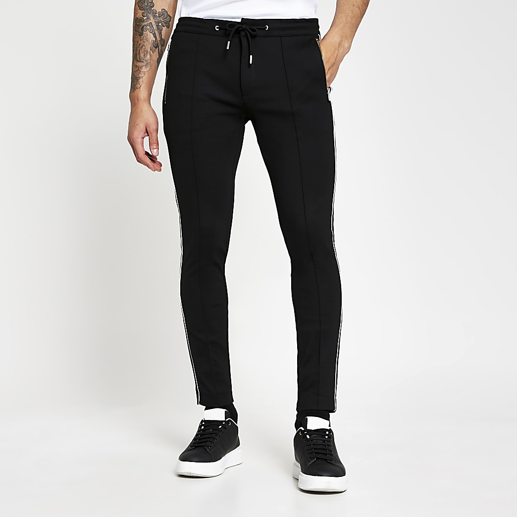 Black super skinny piping joggers