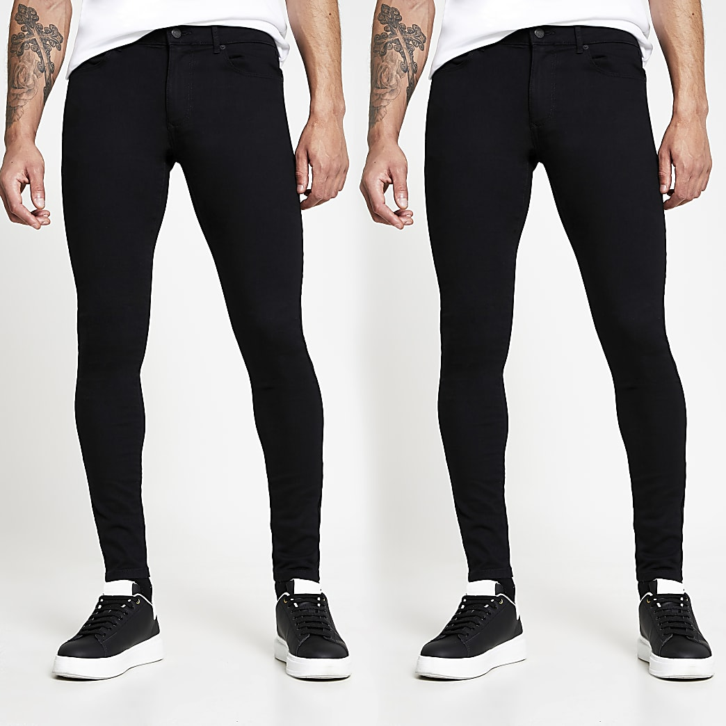 Black super skinny spray on jeans 2 pack