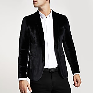 Blazer ultra skinny en velours noir