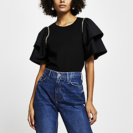 Black taffeta frill chain t-shirt