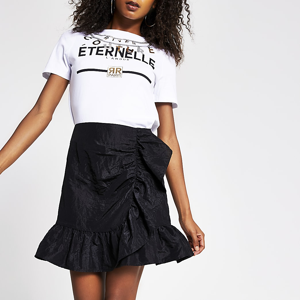Black taffeta frill mini skirt