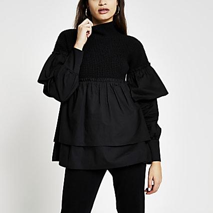 Black taffeta layer jumper