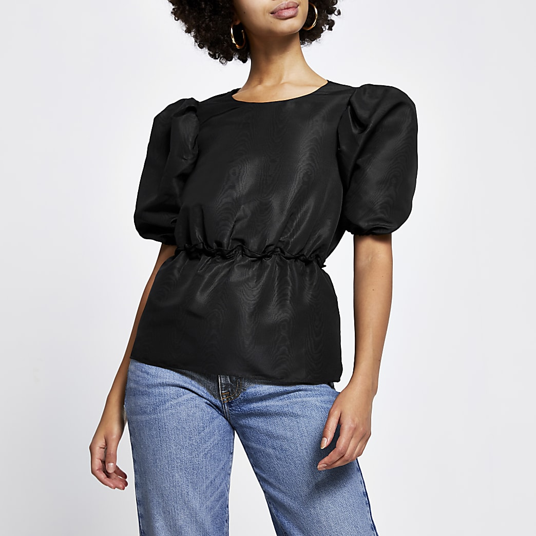 Black taffeta peplum short sleeve top