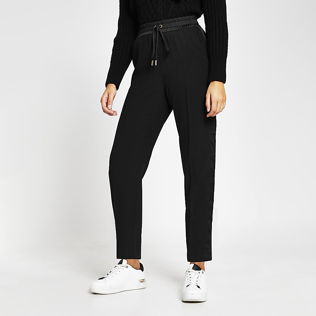 Black tailored contrast joggers