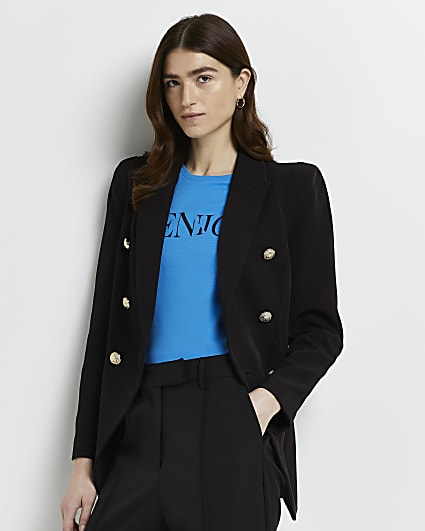 Black tailored double breasted blazer