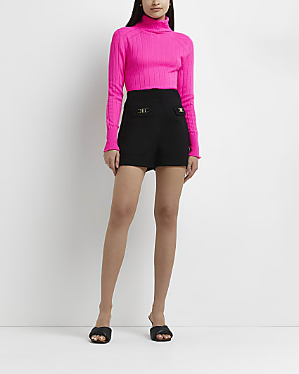 Black tailored high waisted shorts