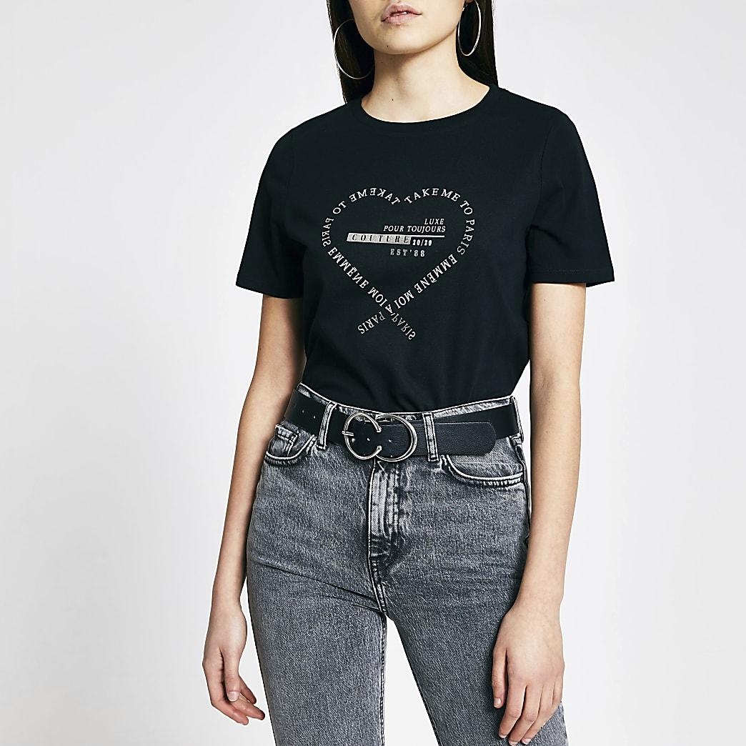 Black 'Take me to Paris' print T-shirt