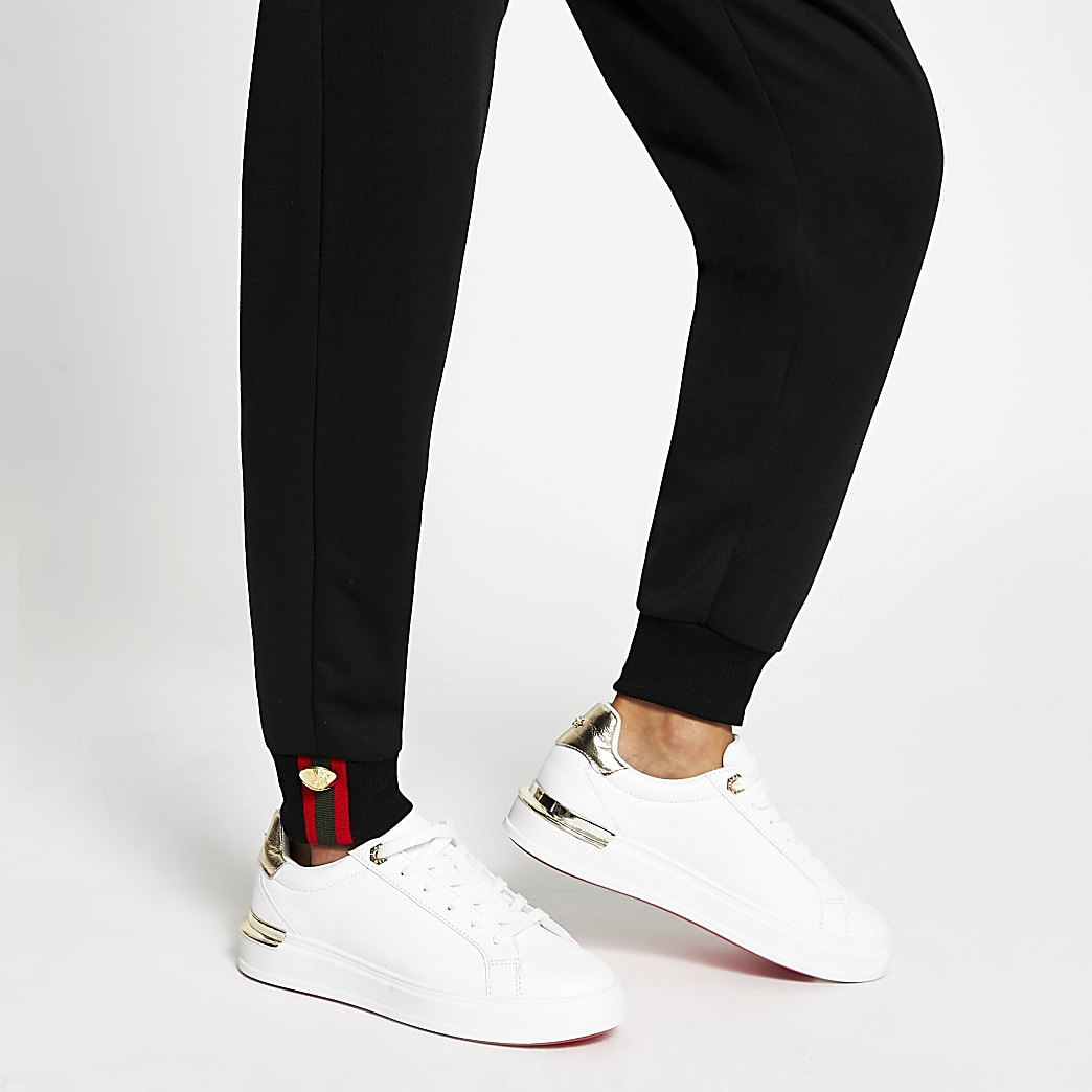 Black tape button skinny joggers