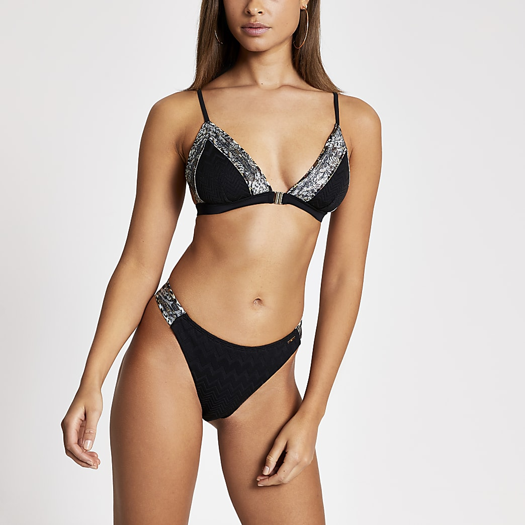 Black tape side high leg bikini bottoms