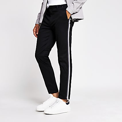 Black tape side skinny chino trousers