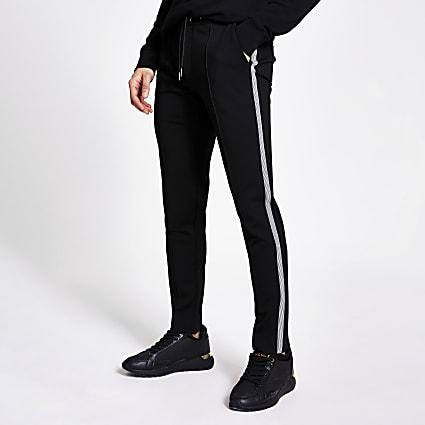 Black tape side slim fit smart joggers