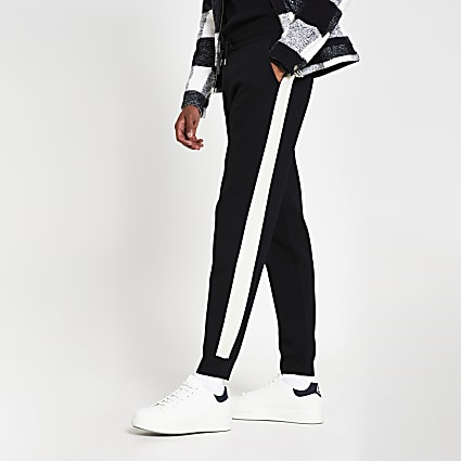 Black taped knitted skinny fit joggers