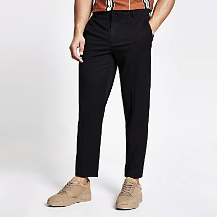 Black tapered fit twill trousers