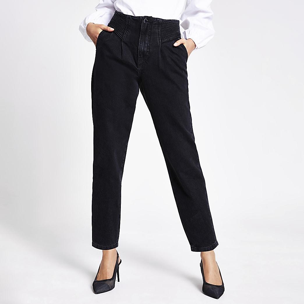 Schwarze High-Rise-Jeans mit schmal zulaufendem Hosenbein