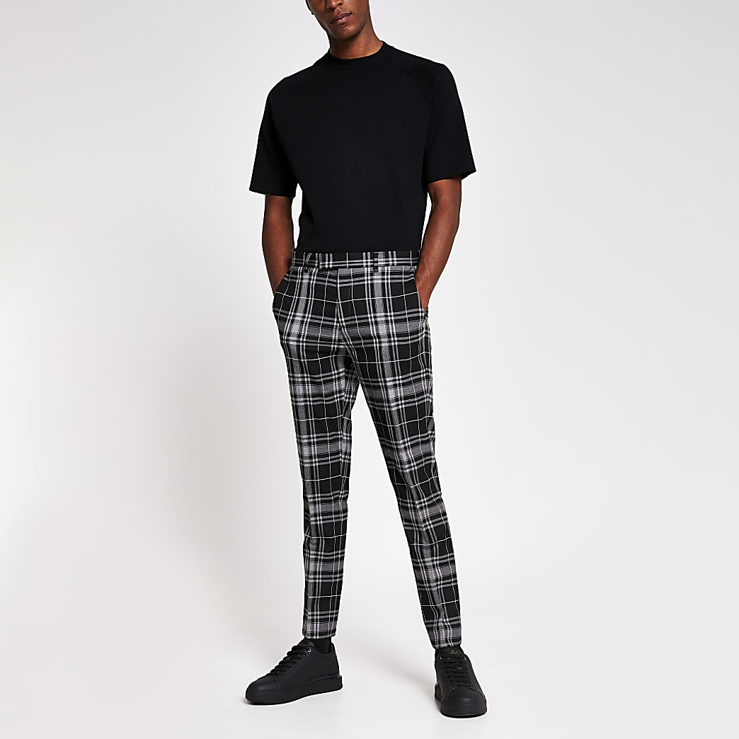 Black tartan stretch skinny crop trousers