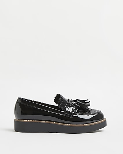 Black tassel chunky loafers