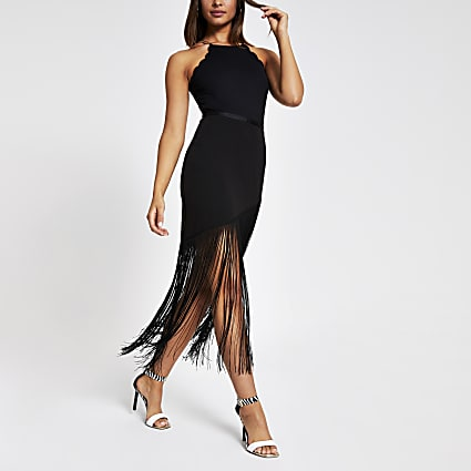 Black tassel pencil skirt