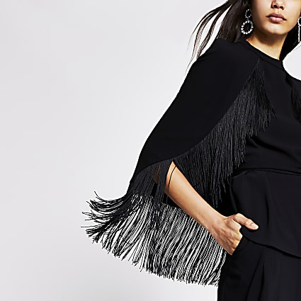 Black tassel tie belted cape sleeve top