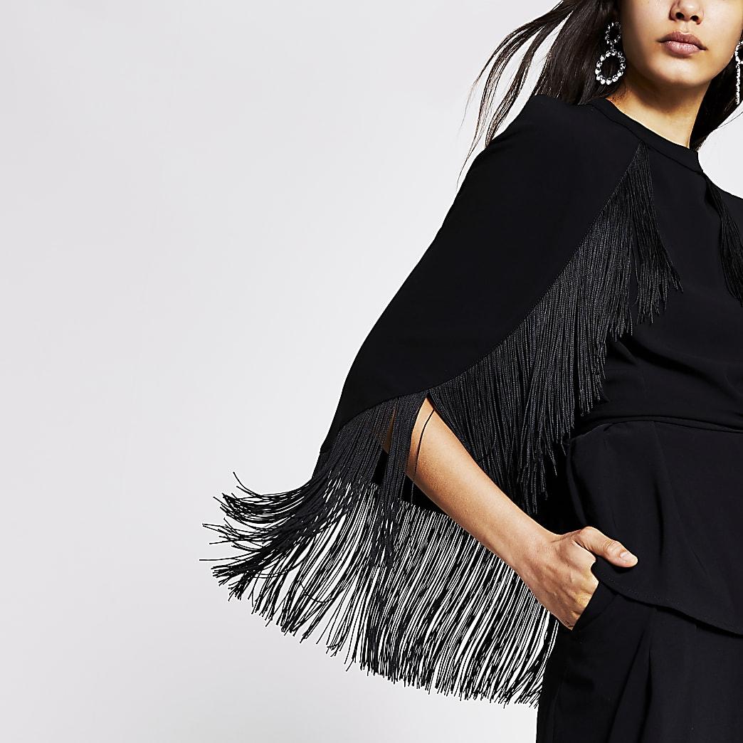Black tassel tie belted cape sleeve top