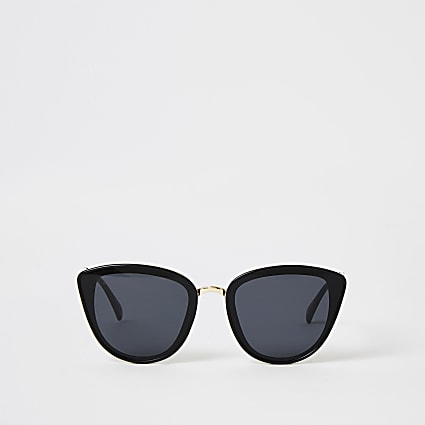 Black textured arm cateye sunglasses