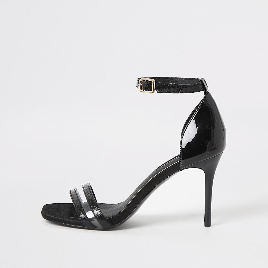 Minimalistische, zwarte getextureerde sandalen met hoge hak