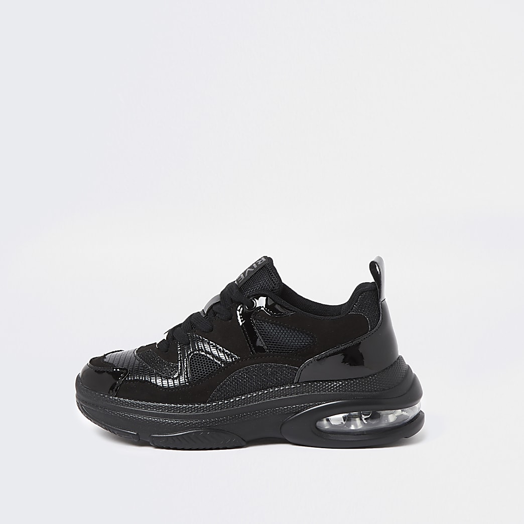 Black textured bubble sole trainers
