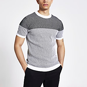 Black textured colour blocked knitted T-shirt