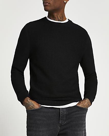 Black textured crew neck jumper