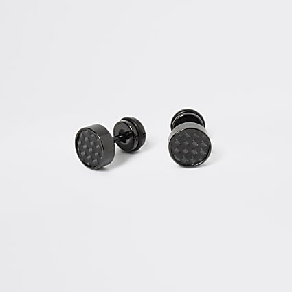 Black textured ear tunnel earrings
