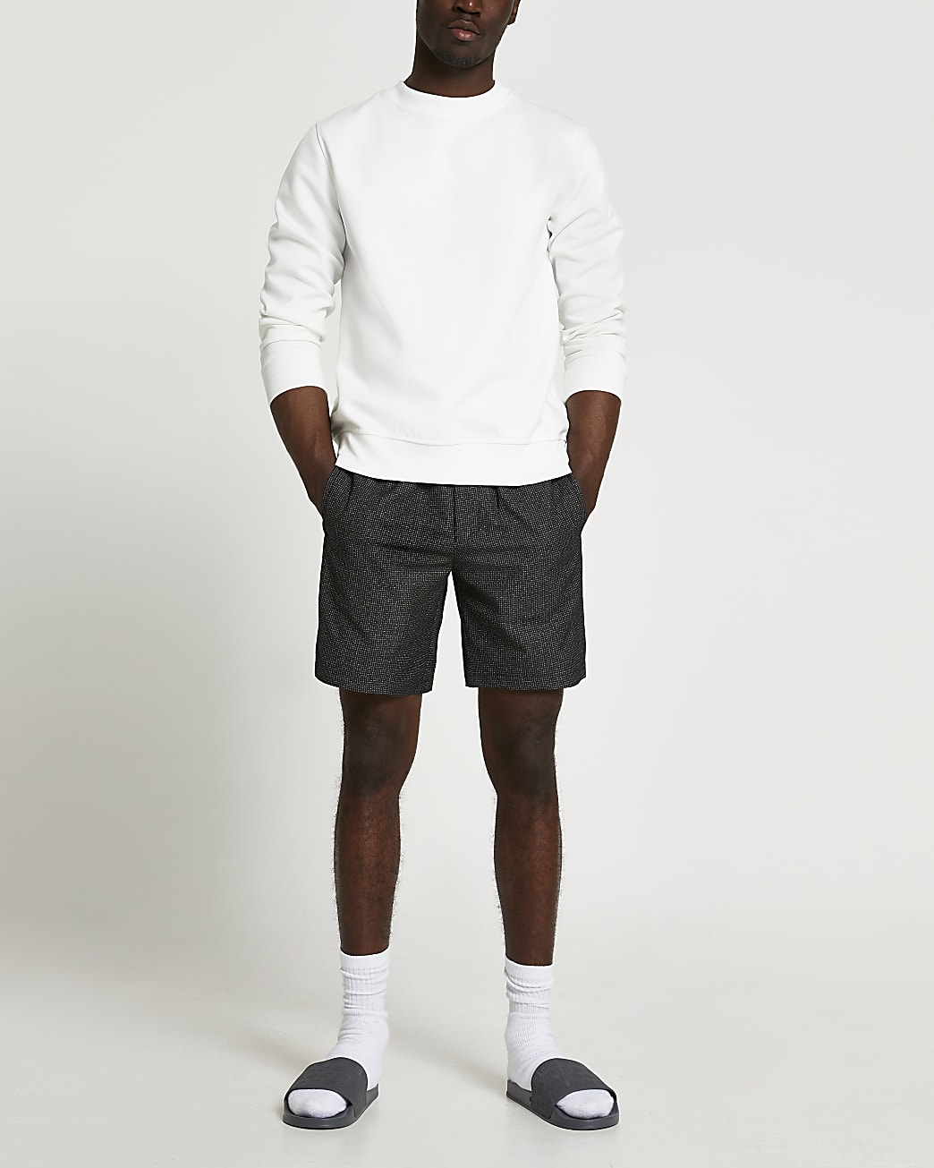 Black textured elasticated shorts