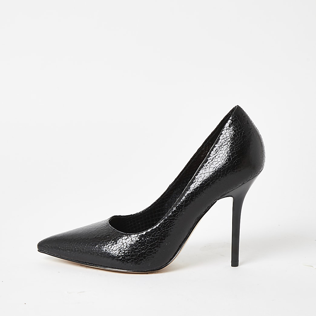 Black textured high heel court shoes