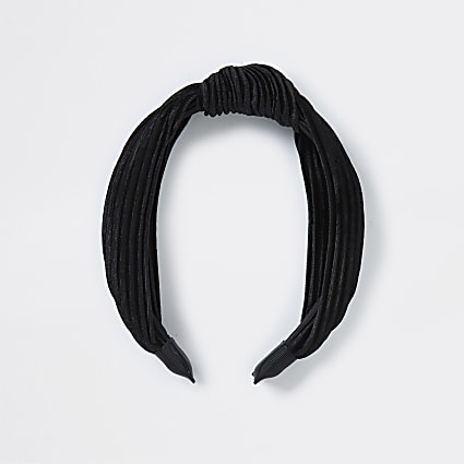 Black Textured Knot Alice Band