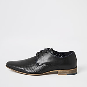 Chaussures Derby noires texturées à lacets