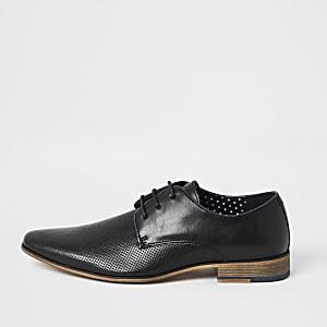 Zwarte derby veterschoenen met textuur